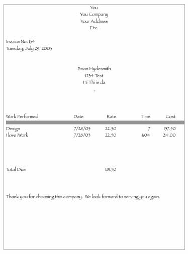 example of simple invoice, Invoice templates